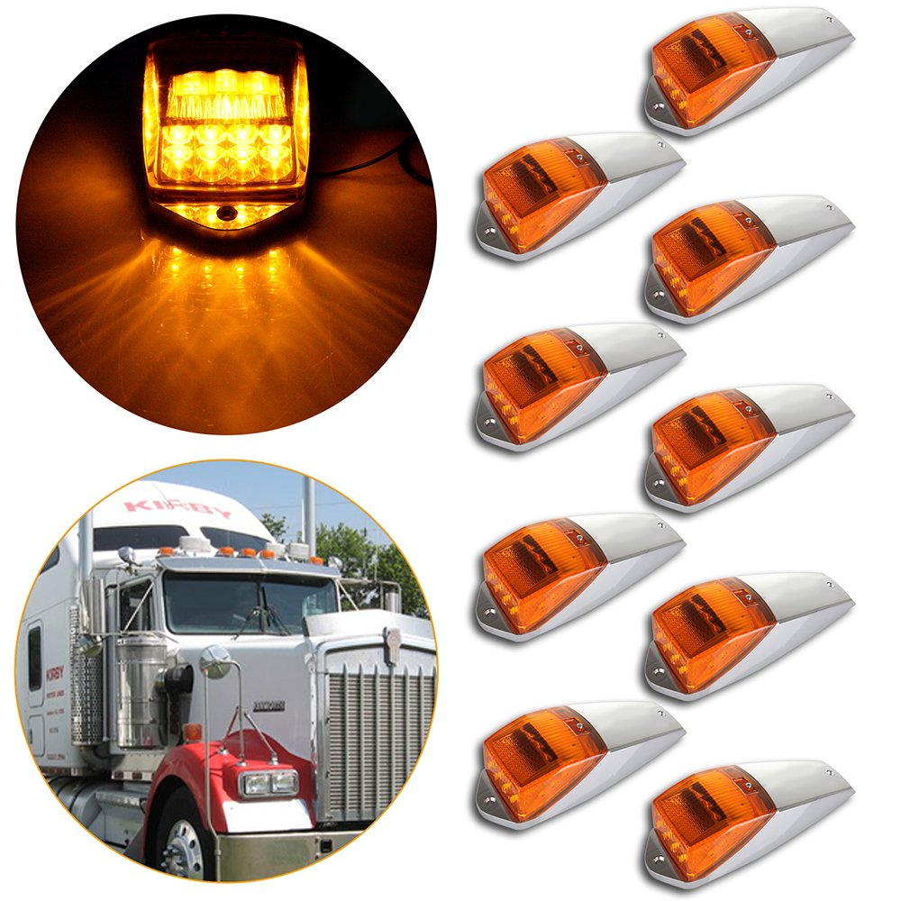 CCIYU 9Pack Amber Light 17LED Top Roof Marker Lights Clearance Cab Marker Lights w/ Chrome Base for Truck Trailer Peterbilt Kenworth Freightliner 811467-5210-1339521