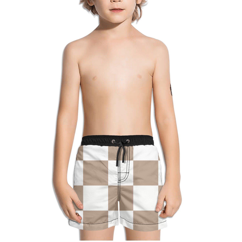 Ouxioaz Boys Swim Trunk Brown White Checkered Beach Board Shorts