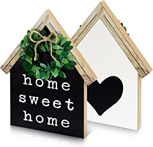 Jetec Double-Sided Home Sweet Home Sign House Shape Farmhouse Sign Wood Block House Shape Decor Self Standing Wood Heart Black Sign Mini Wooden Home Sign with Green Wreath for Living Room Shelf Desk