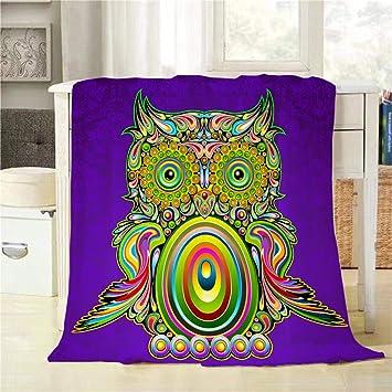 Amazon.com: Mugod Colorido búho manta manta búho Psicedelic ...