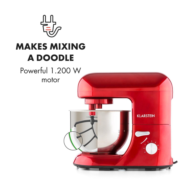 Klarstein TK1 Bella Rossa • Robot de Cocina • Batidora • Amasadora • 1200 W • 5,2 litros • 1,6 PS • Batido planetario • 6 Niveles • Recipiente Acero INOX ...