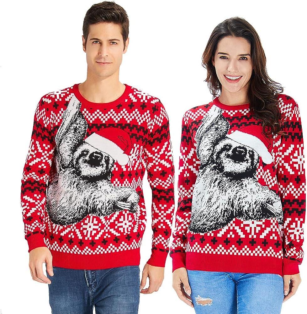 Goodstoworld Jersey Navidad Adulto Hombre y Mujer Novedad Elfo Motivos Suéter Tejido Ugly Christmas Sweater Unisex S-XXL