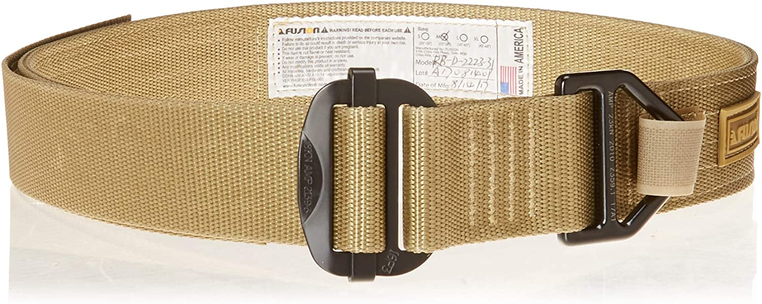 """Fusion Tactical Military Police Riggers Belt Type D Coyote Brown X-Large 43-48""""/1.75 Wide"""