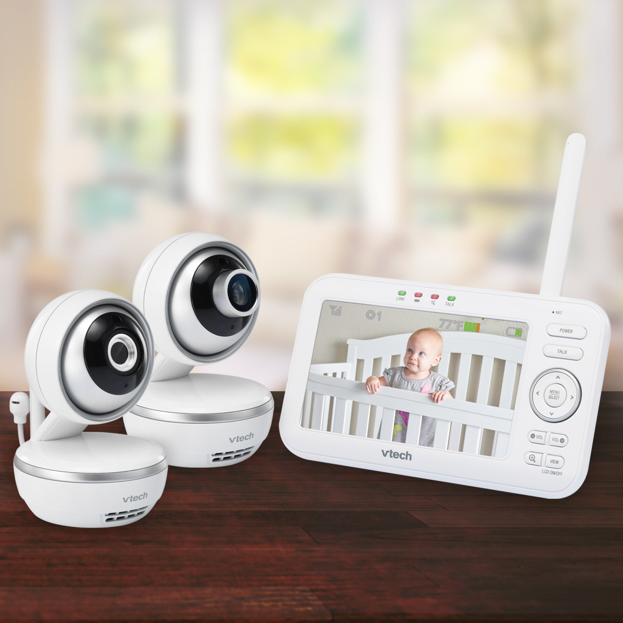 """VTech VM5261-2 5"""" Digital Video Baby Monitor with 2 Pan & Tilt Cameras, Wide-Angle Lens and Standard Lens, White by VTech (Image #6)"""
