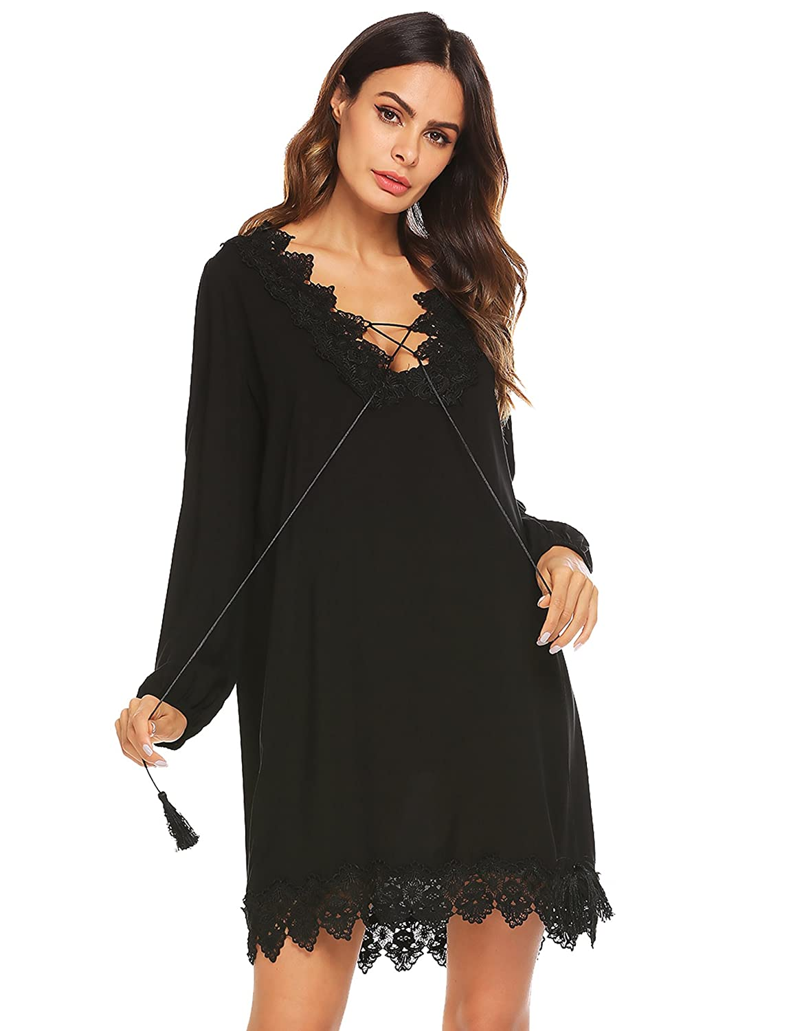 0325354795 Casual Loose Fit Shirt Cover Up Dress: 100%Cotton,fabric is stretchy and  soft. Trust me , this a quality cover up.Lace Patchwork Casual Loose Bikini  Cover ...