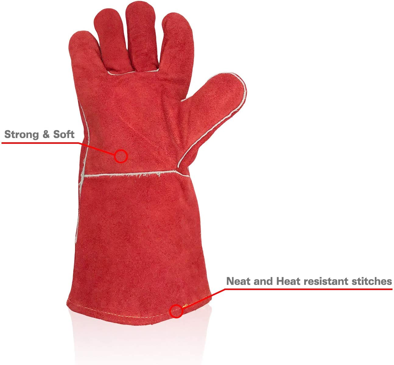 Red Fantaplus Welding Gloves Heat Resistant Wear Resistant Lined Leather and Fireproof Stitching Multifunction For Welders//Fireplace//BBQ//Gardening//Grilling//Stove