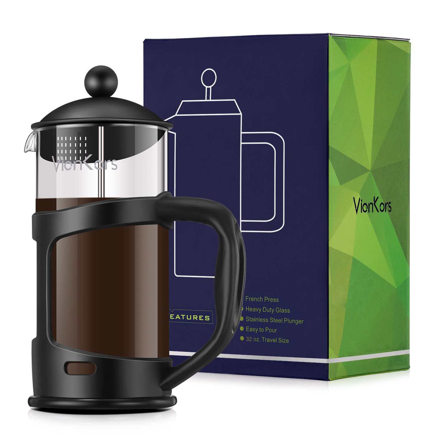 Glass French Press Coffee Maker - VIANKORS Coffee & Tea maker Family size (34 oz, 1000ml) Classic Collection Heat Resistant Borosilicate Glass Bonus Stainless Steel Screen Easy to clean