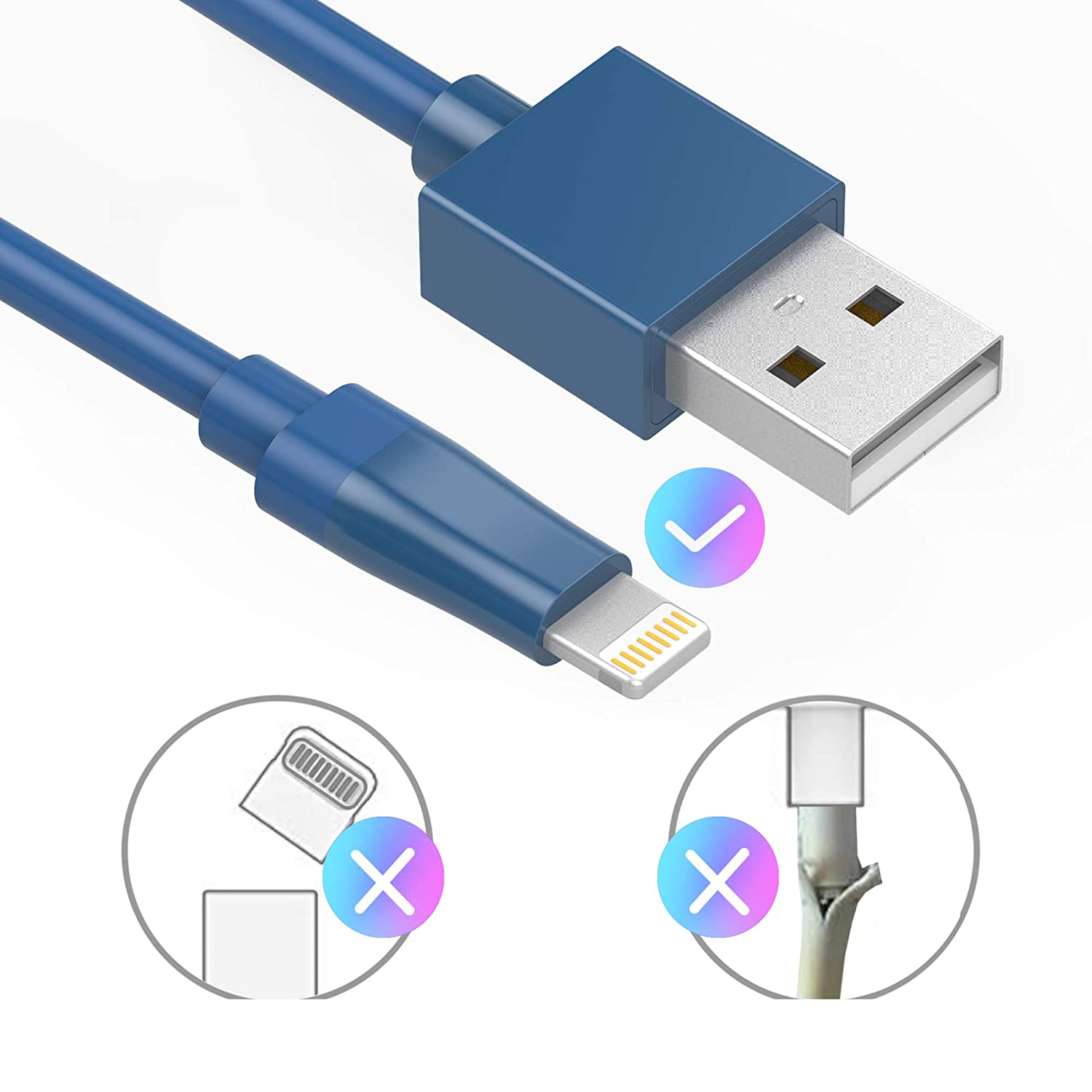 iPad Pro // Air // Mini Kinps Apple MFi Certified Lightning to USB Cable 10ft//3m iPhone Charger Cord Super Long for iPhone X // 8 // 8 Plus // 7 // 7 Plus // 6S // 6S Plus // 6 // 6 Plus // SE CAB.10FT.002 White, 1 Pack