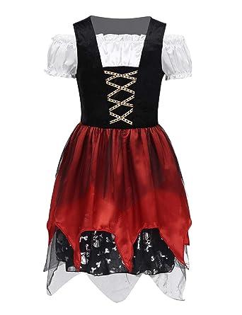 inlzdz - Disfraz de Pirata para niña, Vestido de Traje típico ...