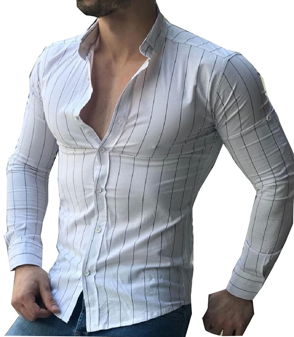 M/&S/&W Mens Slim Fit Long-Sleeve Button Down Pattern Chambray Shirt