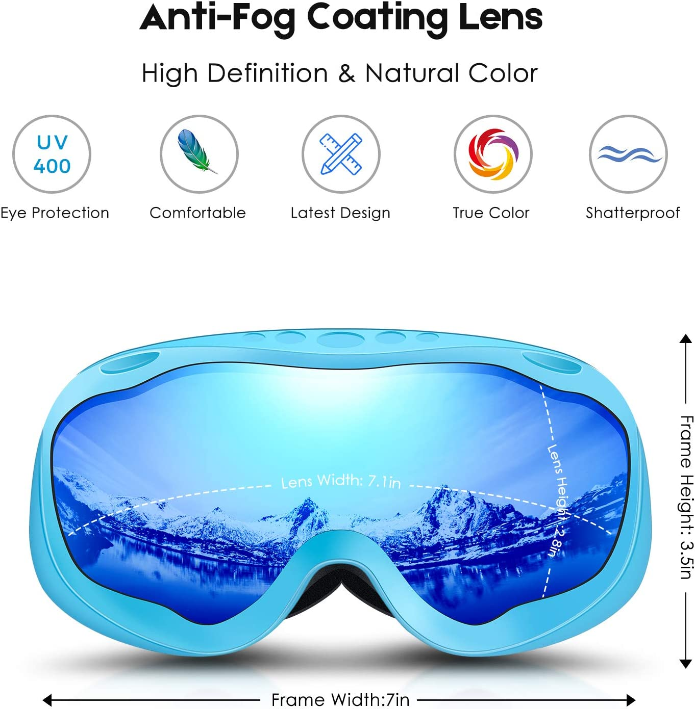 Deecreek Ski Goggles, Mens Women Snowbord Goggles Over Glasses OTG Anti-Fog Skiing Goggles for Adults Youth Snow, Helmet Compatible