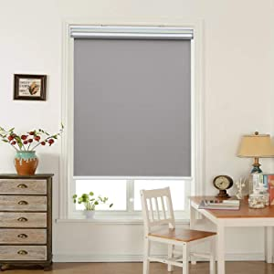 "HOMEDEMO Window Blinds and Shades Blackout Roller Shades Cordless and Room Darkening Blinds Gray 23"" W x 72"" H for Windows, Bedroom, Home"