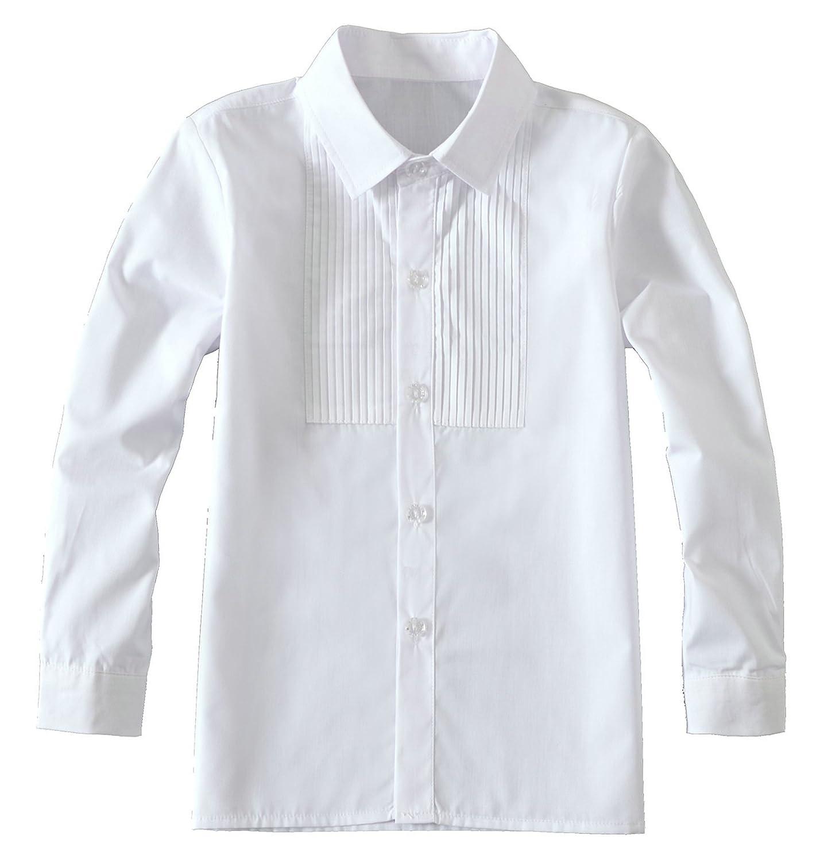Yuanlu Boys Long Sleeve White Shirt White-Long-Shirt