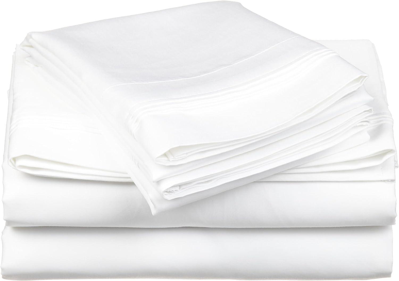Superior 100% Egyptian Cotton 4-Piece Solid Sheet Set, King, White