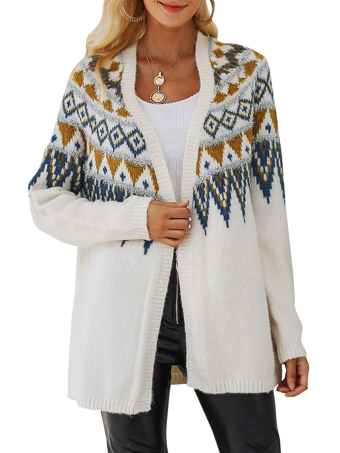BerryGo Women's Fashion Knitted Cardigan Geometric Open Front Sweater Coat White,One Size