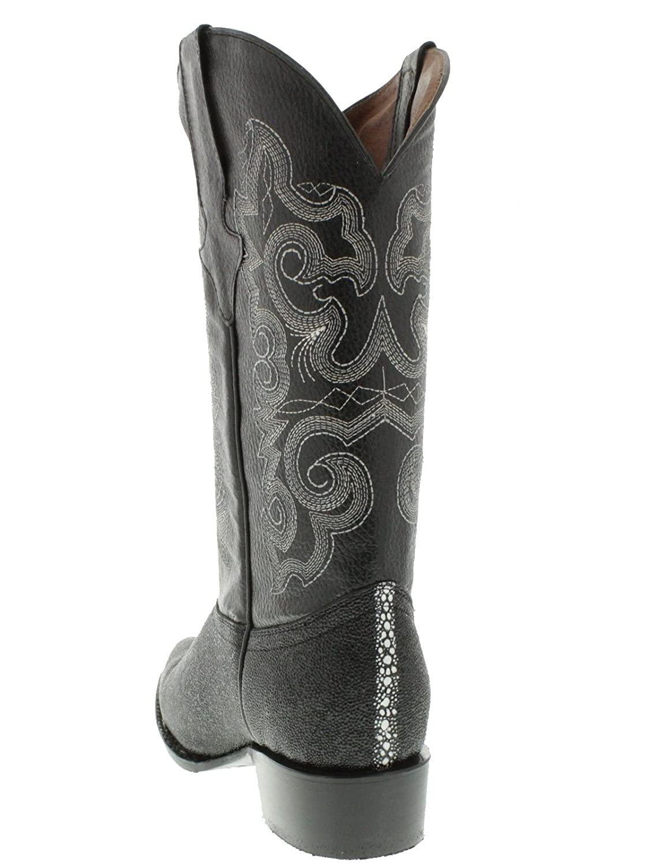 Team West Mens Black Stingray Print Leather Cowboy Boots 8.5 2E US