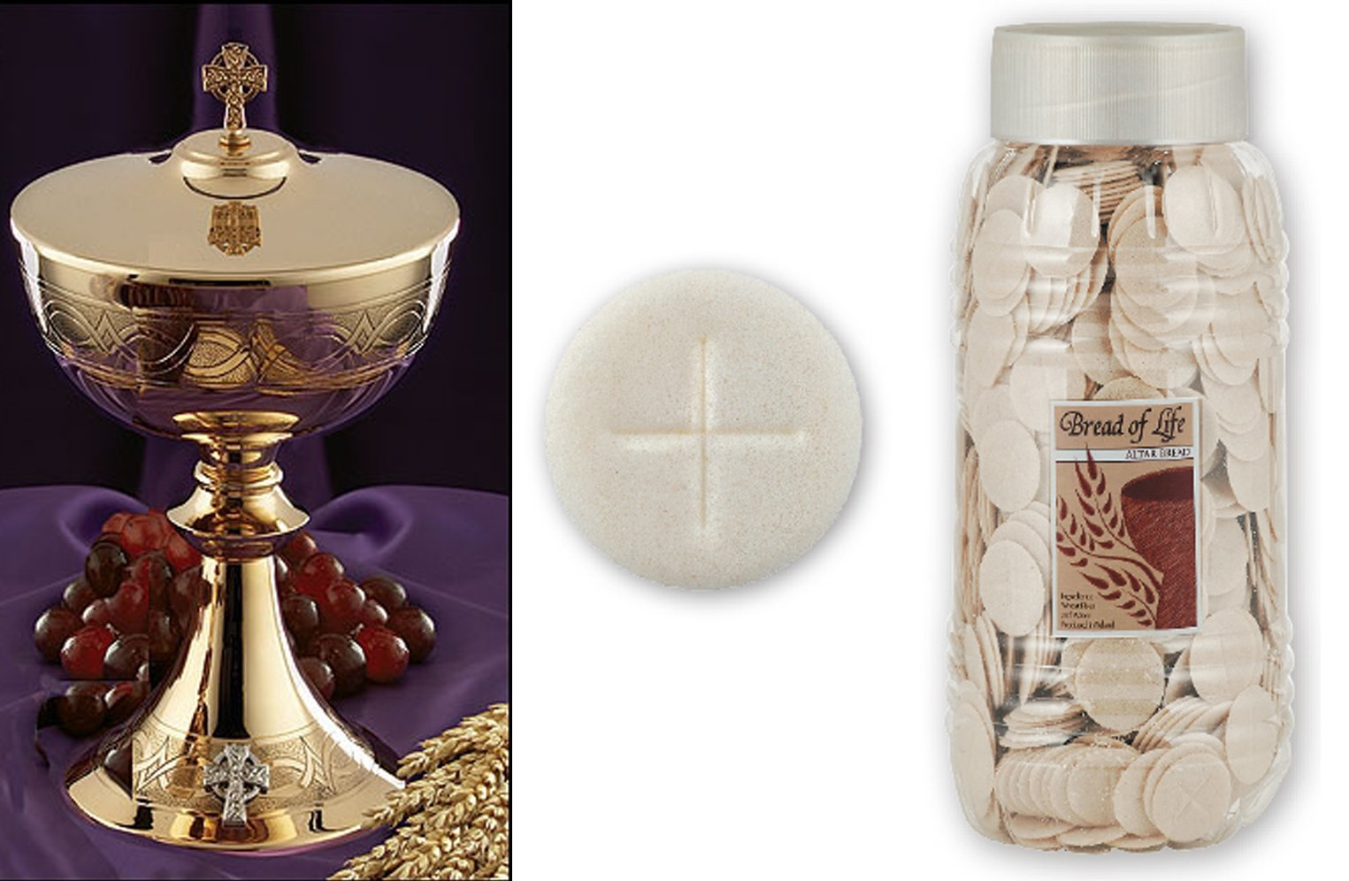 Etched Celtic Cross Ciborium with Cover & 1000 White Altar Bread Hosts