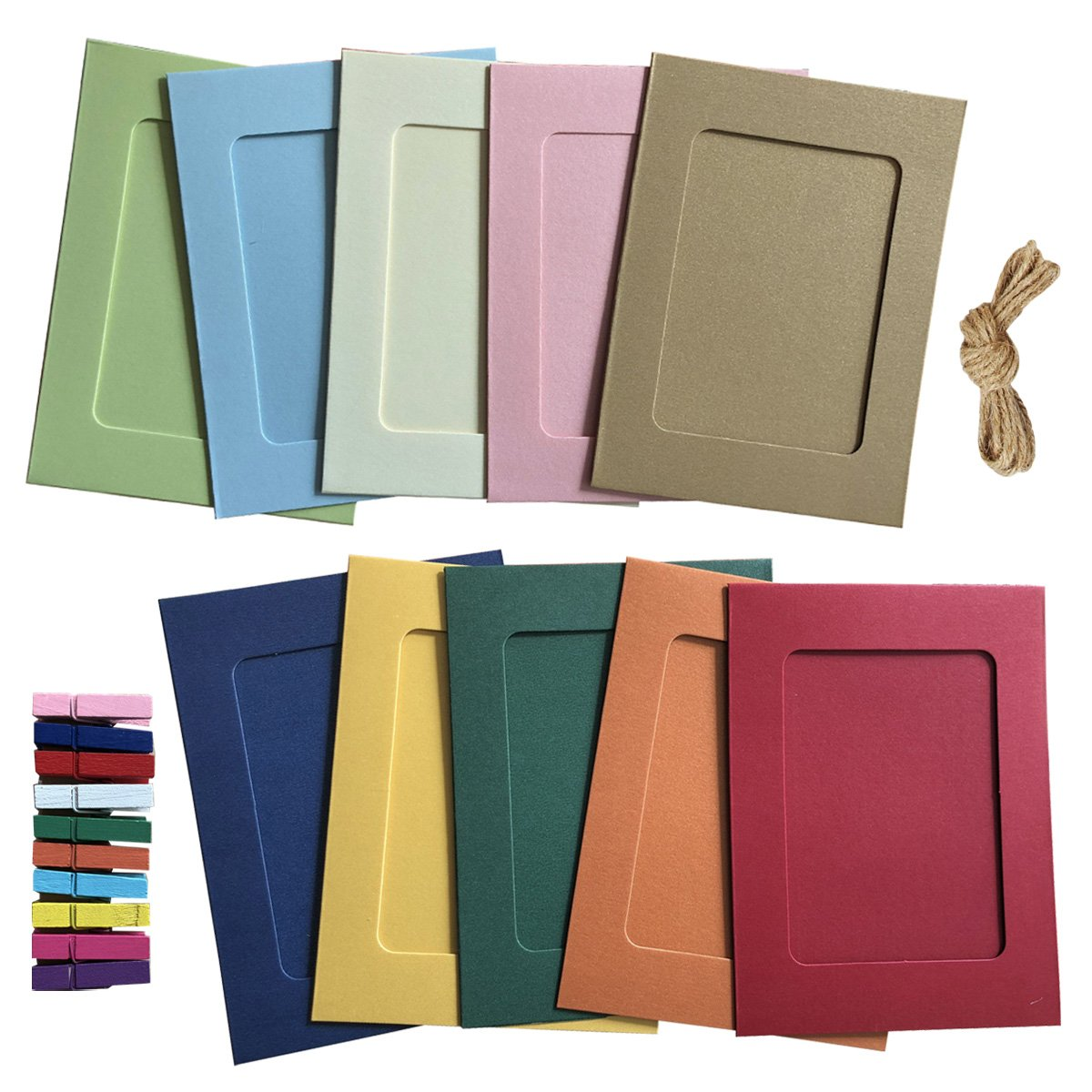 Paper Photo Frame 4x6 Kraft Paper Picture Frames 10 Pcs Diy Cardboard Photo Frames With Wood Clips And Jute Twine 10 Colors
