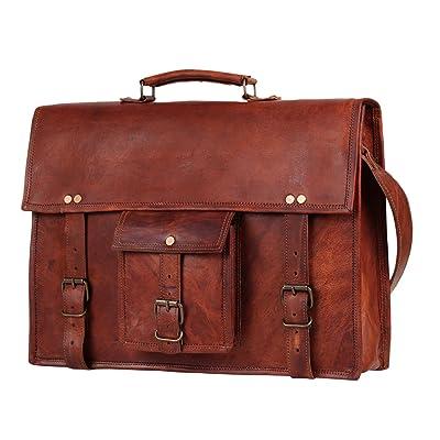 """15"""" Mens Genuine Leather laptop messenger bag Satchel shoulder bag distressed crossbody bag briefcase"""