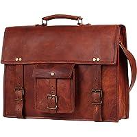 40 Cm Bolso Bandolera Laptop Bag Bolsa De Hombro Cuerpo Cruzado Grande para Mensajero Mensajeria De Cuero Piel Marron…