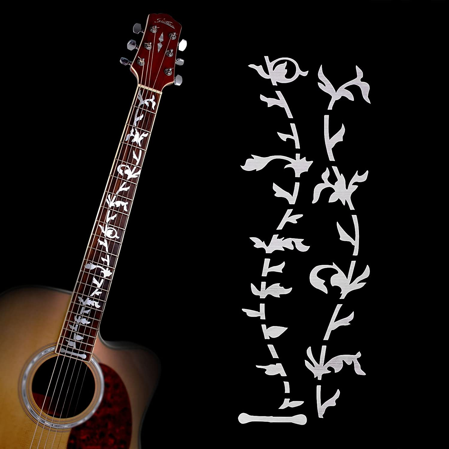 Amazon.com: Acoustic Electric Tree of Life Music Guitar Bass DIY Neck  Fretboard/ Fret Inlay Sticker/ Stikers Silver Thin: Musical Instruments