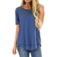 4f81843418d JomeDesign Summer Tops for Women Short Sleeve Side Split Casual Loose Tunic  Top