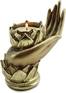 We pay your sales tax Buddha Yoga Mudra Candle Holder ~ Lotus Gesture Hand Shape Candle Holder for Your Healthy Heart(G16627) Feng Shui Idea