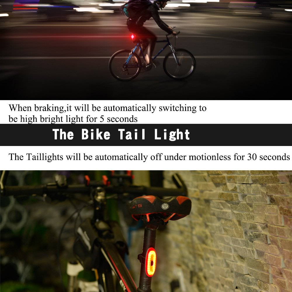 USB Rechargeable Ultra Bright Rear Bike Light Auto On//Off Smart Bike Tail Light