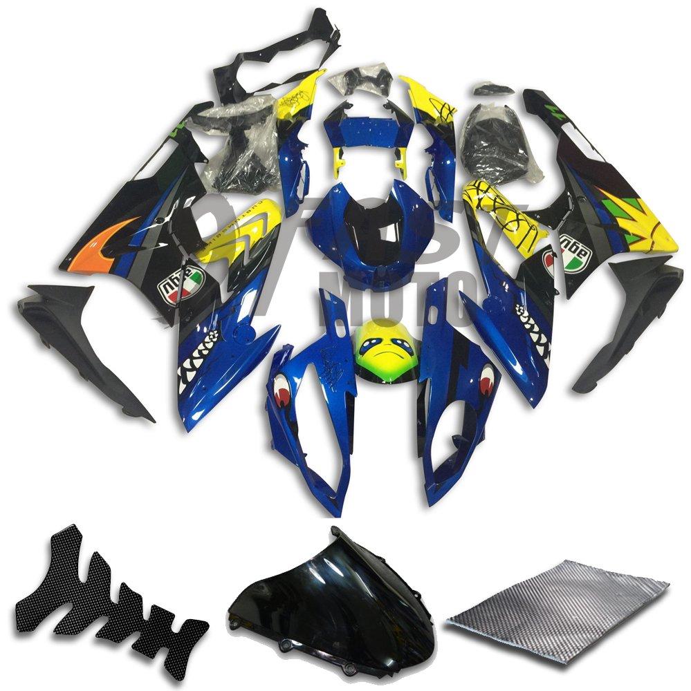 9FastMoto bmw 2015 2016 S1000RR 15 16 S 1000 RR 用フェアリング オートバイフェアリングキット ABS 射出成形セット スポーツバイク カウル パネル (ブルー & イエロー) D0297   B07BWJT4FV