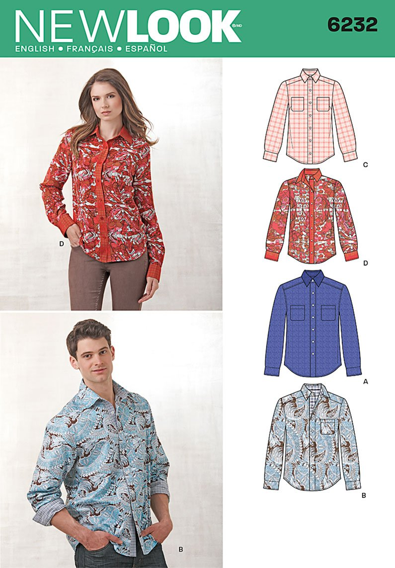 Simplicity Creative Patterns Look 6232 Misses Men's Button Down Shirt, A (8-18/X-Small-X-Large)