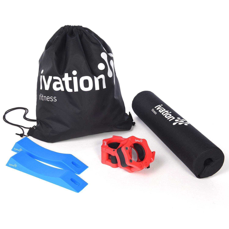 Ivation Squatパッド、バーベルクランプ& Deadウェッジセット – 強度トレーニングアクセサリーキットを含ま携帯ケース目標を物理に専念ヘルプ   B077H5XH2J