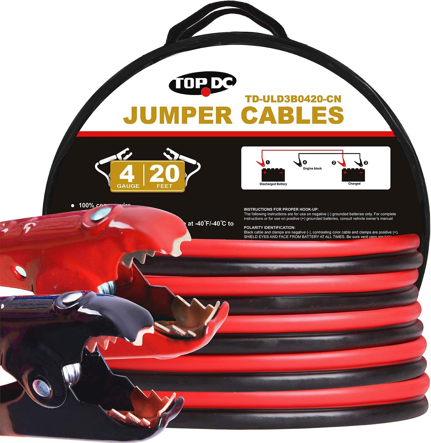 16 Ft 8 Gauge Booster Cable Emergency Car Battery Jumper for all 4 6 /& 8 Cyl