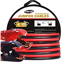 TOPDC 100% Copper Jumper Cables 4 Gauge 20 Feet Heavy Duty Booster Cables with Carry Bag and Safety Gloves (4AWG x 20Ft)