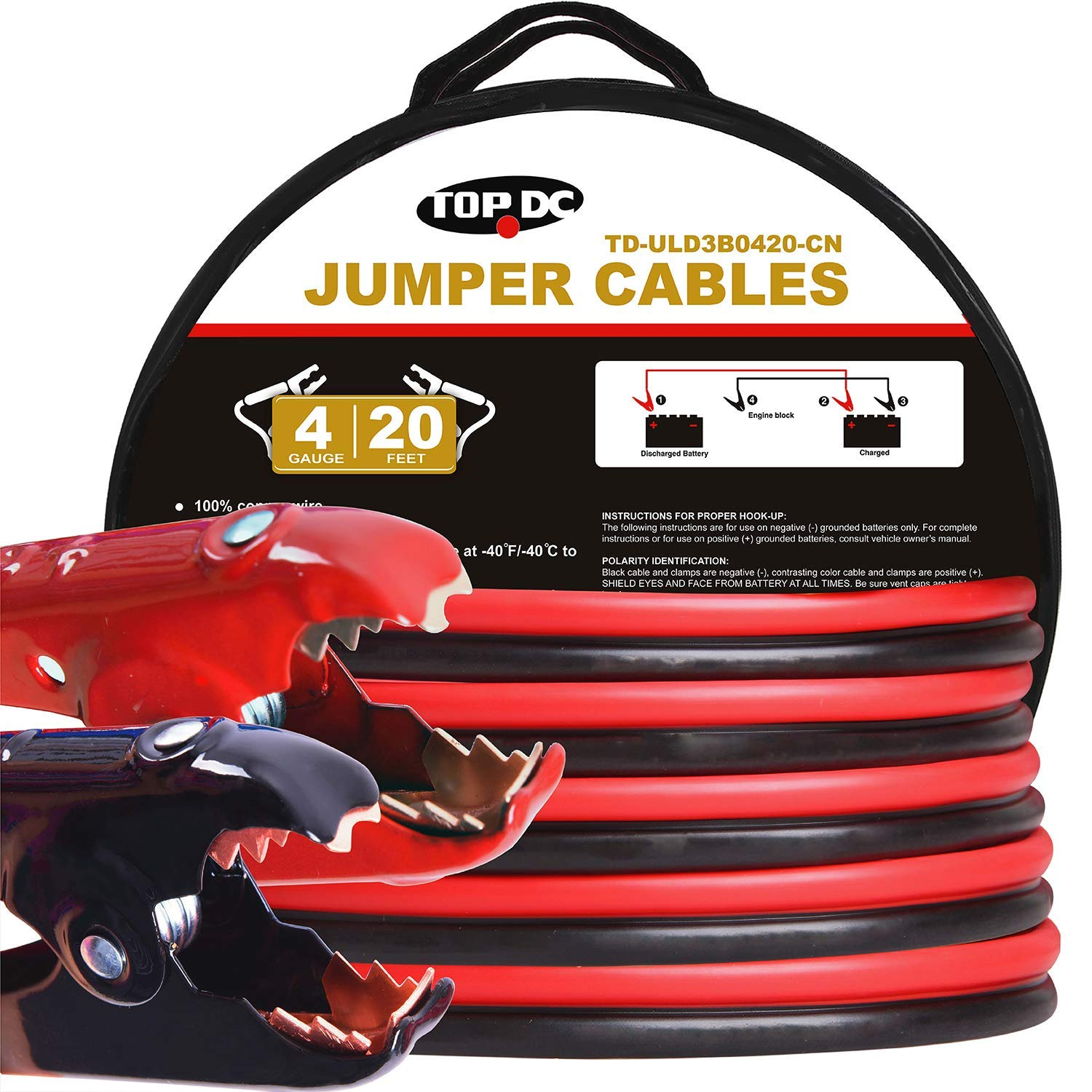 TOPDC 100% Copper Jumper Cables 4 Gauge 20 Feet 480AMP Heavy Duty Booster Cables with Carry Bag and Safety Gloves (4AWG x 20Ft) by TOPDC