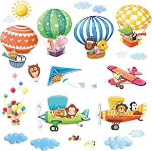 DECOWALL DAT-1406B1506B Animal Hot Air Balloons and Biplanes Kids Wall Stickers Wall Decals Peel and Stick Removable Wall Stickers for Kids Nursery Bedroom Living Room décor