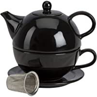 Omniware 1500187 5 Piece Tea for One Teapot Set with an Infuser, Black