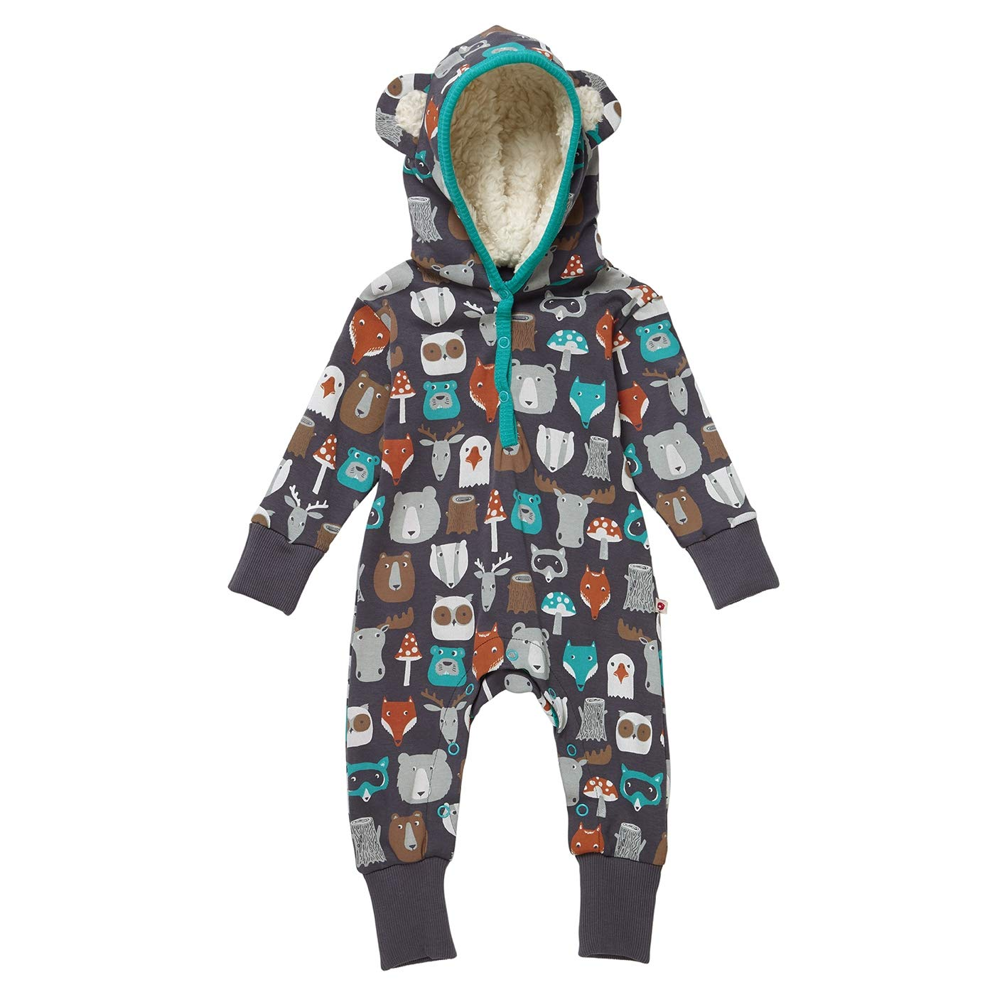 Piccalilly Organic Cotton Unisex Girls Boys Brown Forest Friends Print Baby Toddler Hooded Playsuit