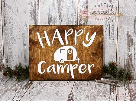Cartel de Campamento con Texto en inglés Happy Camper para ...