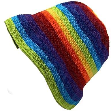 ad9684386ce Loud Hats Rainbow Stripe Hippie Festival Crochet Bucket HAT Cotton:  Amazon.co.uk: Clothing