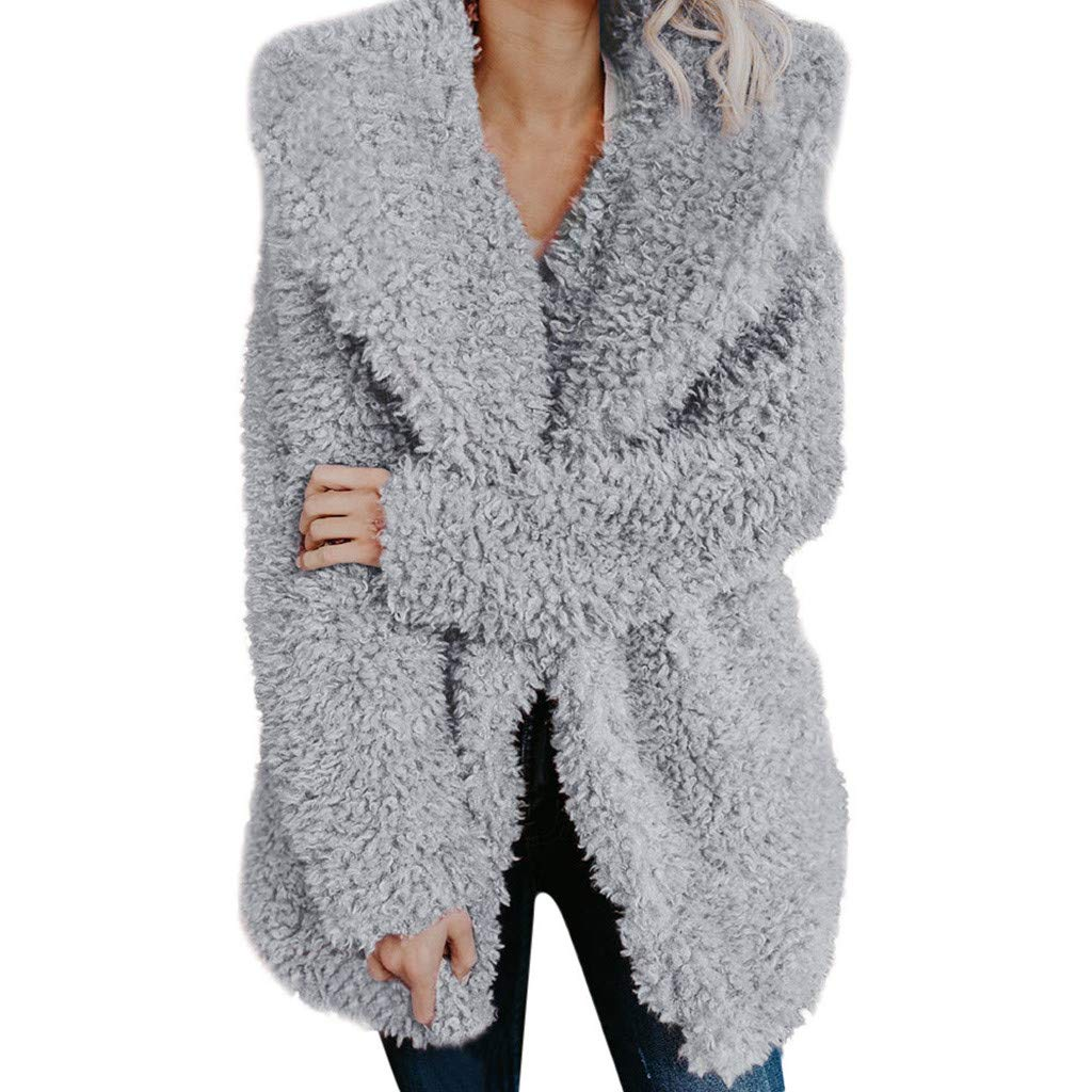 Ultramall Women Warm Coat Fuzzy Faux Fur Shearling Lapel Collar Jacket Winter Outerwear by Ultramall