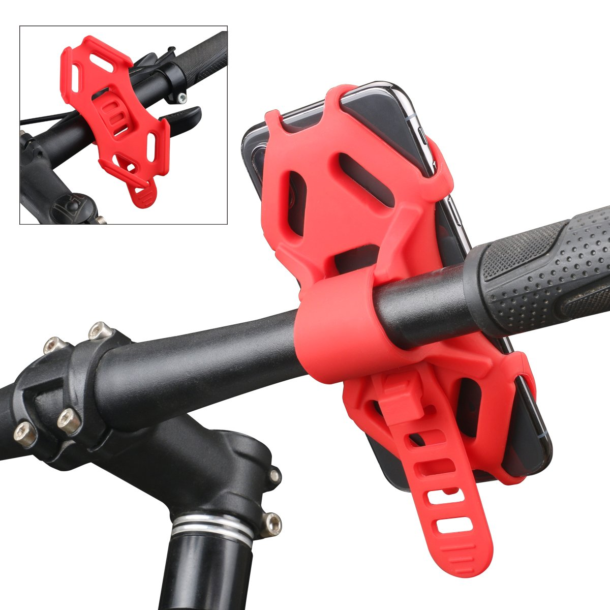 AEMIAO Bike Phone Mount, Silicone Strap Adjustable Bicycle Phone Holder Motorcycle Phone Mount, Universal Cell Phone Holder Bike Handlebar Cradle for Any Smartphone with 4.7''-6.0'' Screens iPhone, Red
