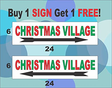 Christmas Arrow Signs.Amazon Com 2 6x24 Red And Green Christmas Village With