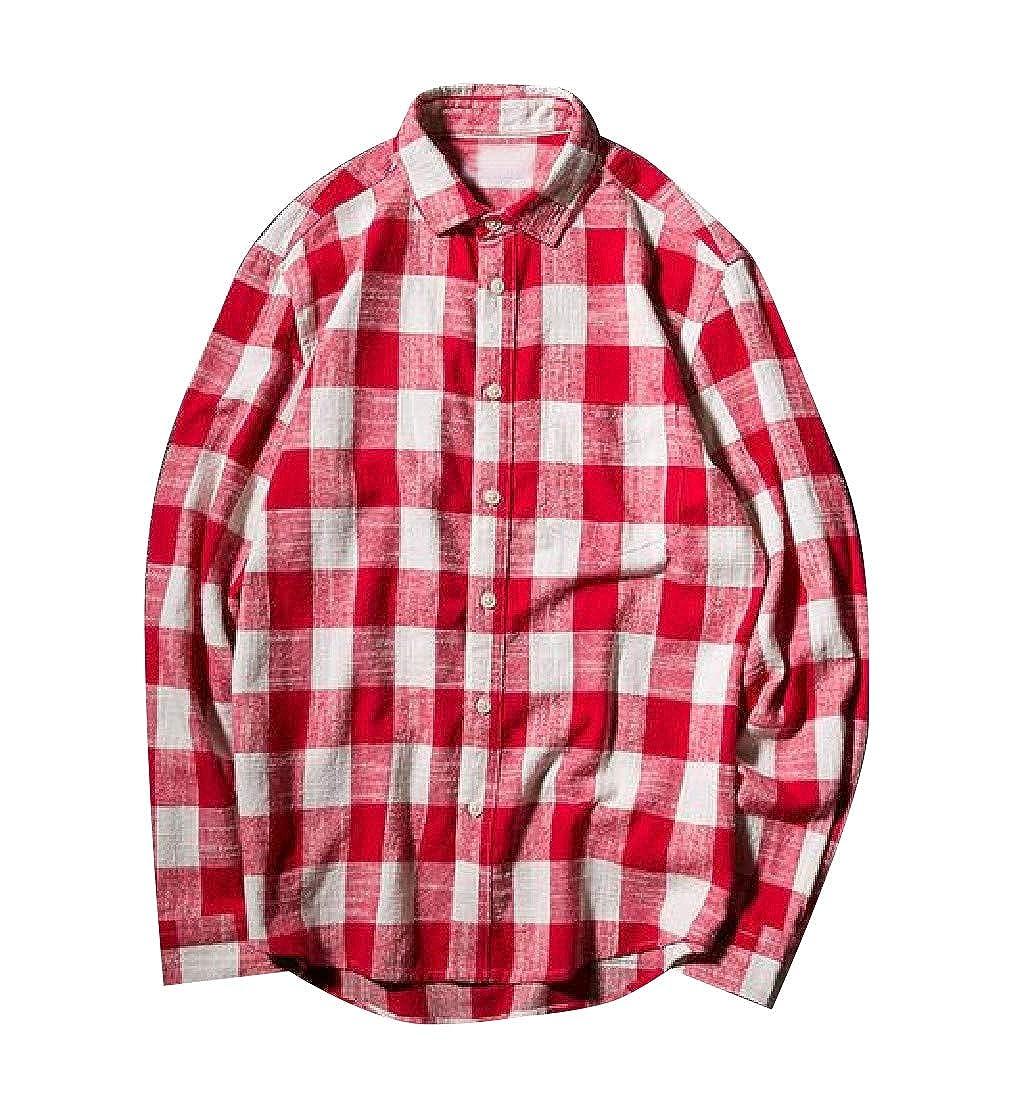 YUNY Mens Plaid Buttoned Long-Sleeve Turn-Down Collar Shirts Red XL
