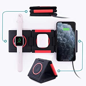Unravel 3 in 1 Wireless Charger (Apple Watch Compatible) 10W for iPhone 11/11 Pro/11 Pro Max/XS/Xs Max/XR/X/8/8 Plus/SE/Samsung Galaxy/AirPods (Red)