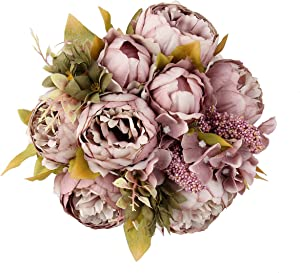 Shengyuan Artificial Flowers Fake Silk Peony Flower Bouquet Floral Plants Decor for Home Garden Wedding Party Decor Decoration,Cameo Brown