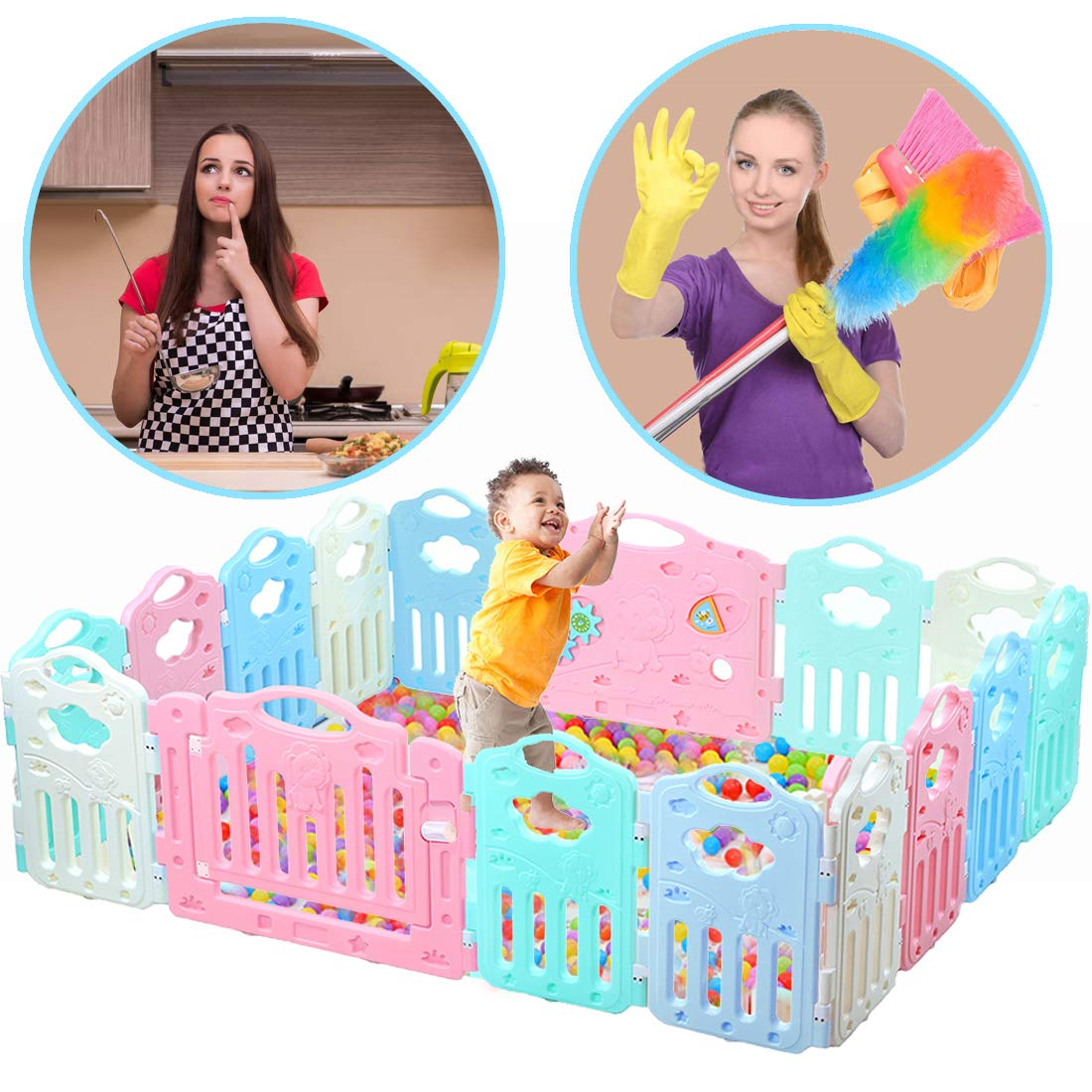 Baby Playpen Kids Activity Centre Safety Play Yard Safe Set 16 Panel Home Footloose Indoor Outdoor Multicolor Rubber Anti-Skid Fence Healthful Safety Design Learn Walk with Locked Door for 6 Months