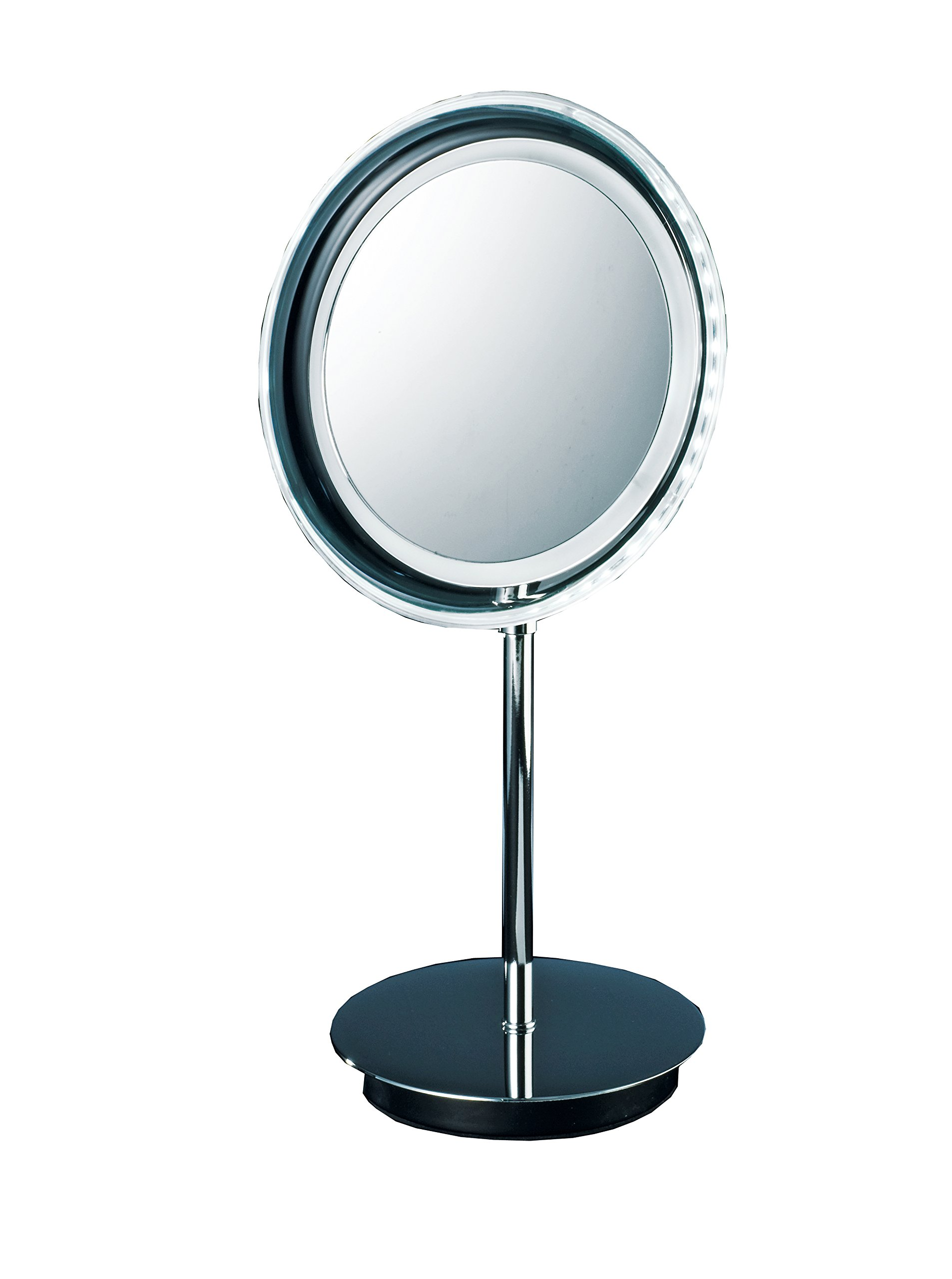 Walther Round Table Cosmetic Makeup 5x LED Light Magnifying Mirror, Cordless. Lighted Countertop Makeup Mirror with 5x Magnification. Polished Chrome