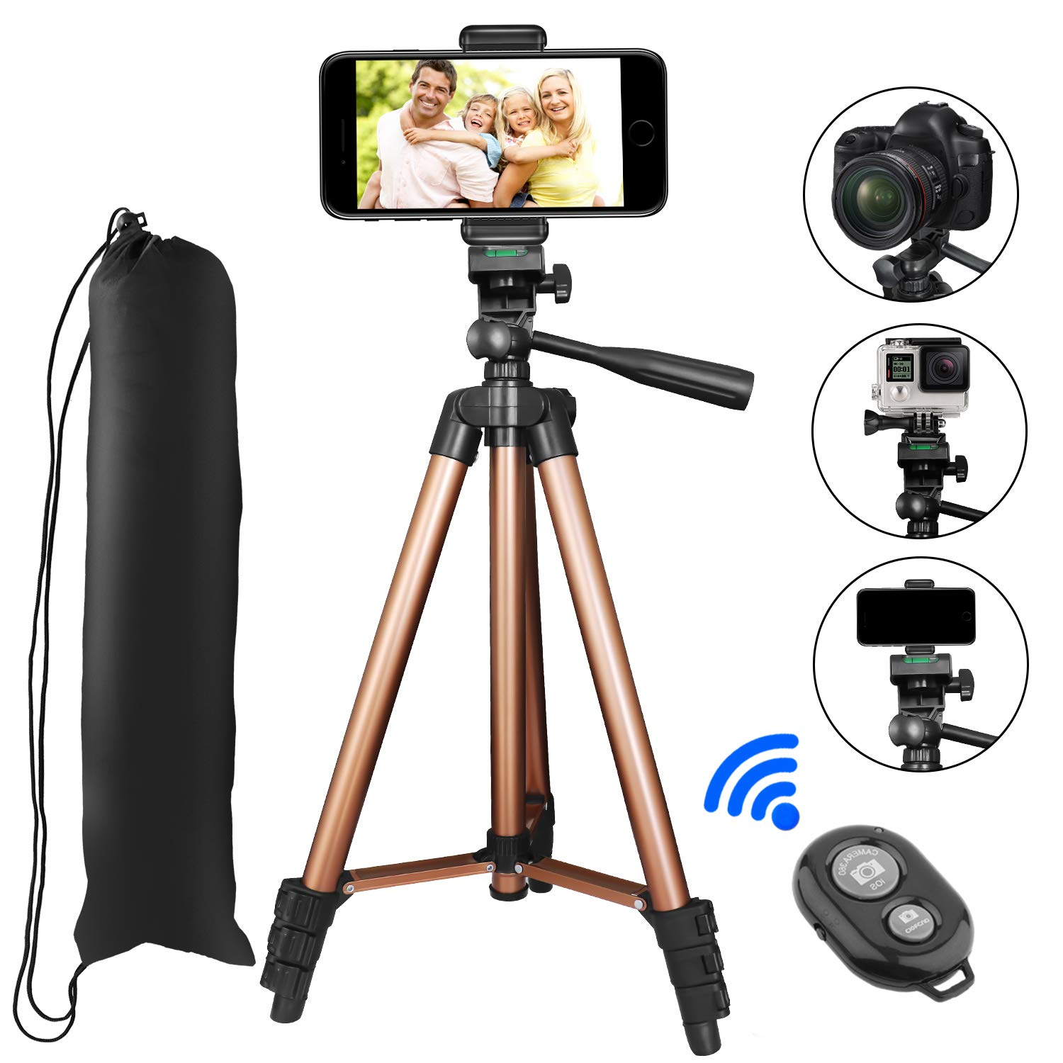 Phone Tripod, PEYOU 50'' Aluminum Camera Tripod + Bluetooth Wireless Remote Control Shutter + Universal Smartphone Holder Mount Compatible for iPhone X 8 Plus 7 6 6s Plus,Galaxy Note 8 S9 S8 Plus S7 S6 by Peyou