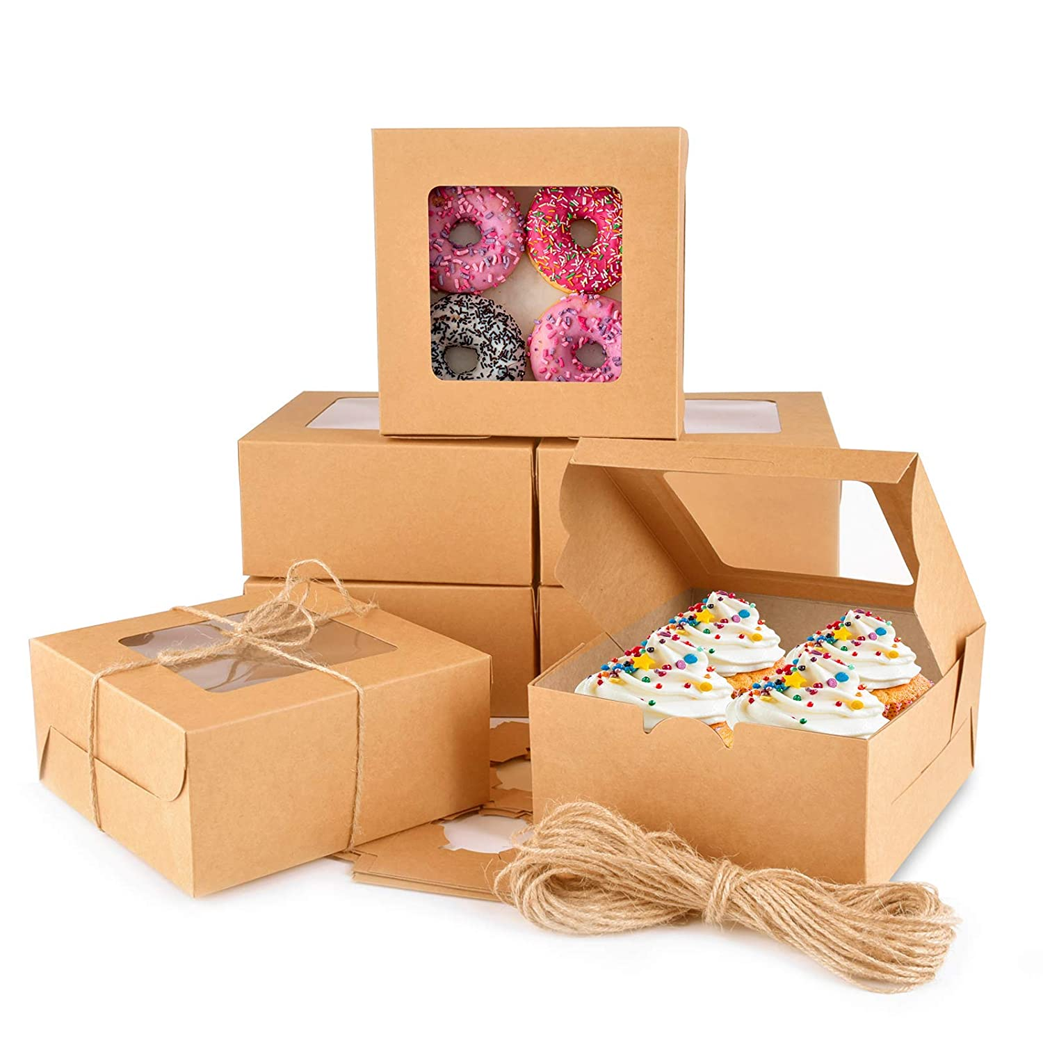 Cake Boxes 6x6x3 Inch, 24 pcs Brown Kraft Bakery Boxes with Window, Cupcakes Box for Pastries, Brown Bakery Boxes for Muffins, Donuts, and Pastries