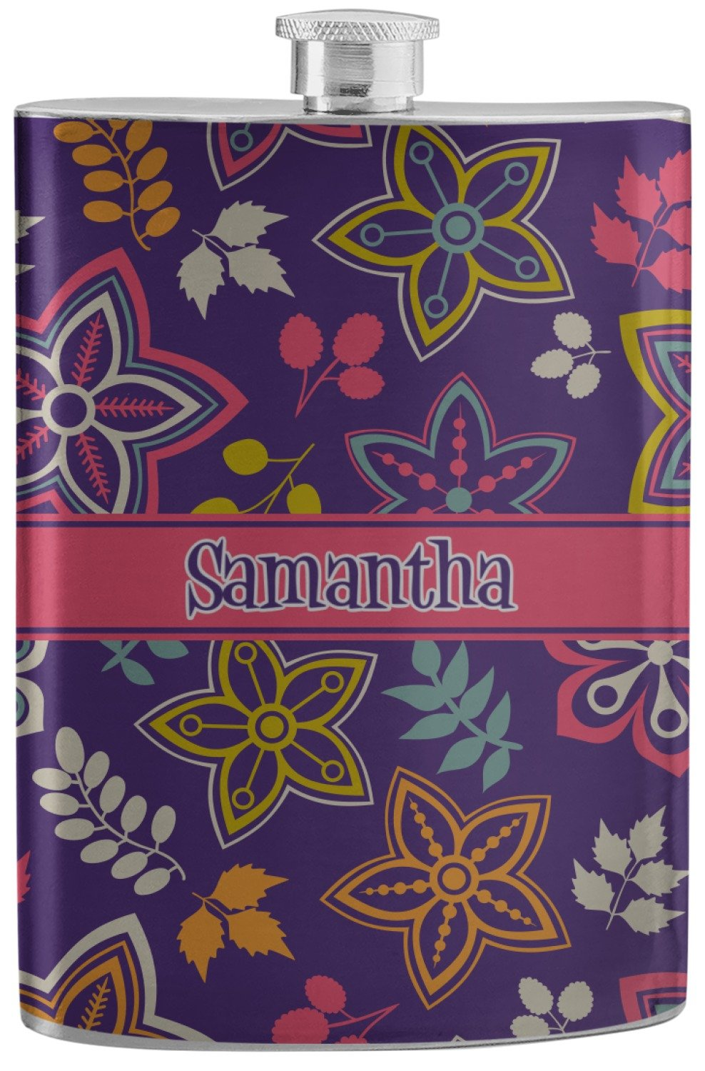 Simple Floral Stainless Steel Flask (Personalized)